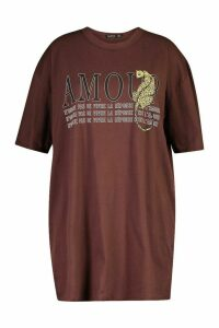 Womens Plus Amour Oversized T-Shirt Dress - brown - 20, Brown