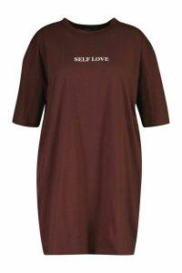 Womens Plus Self Love Oversized T-Shirt Dress - brown - 18, Brown