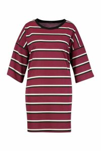 Womens Plus Striped Ringer T-Shirt Dress - red - 24-26, Red