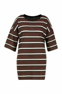 Womens Plus Striped Ringer T-Shirt Dress - brown - 24-26, Brown