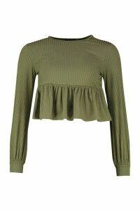 Womens Petite Rib Volume Sleeve Smock Top - green - 14, Green