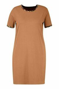 Womens Plus Ribbed Ringer T-Shirt Dress - beige - 22, Beige
