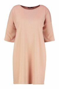 Womens Plus Oversized Slouch Rib T-Shirt Dress - pink - 20, Pink