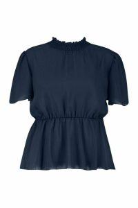 Womens Plus High Neck Angel Sleeve Keyhole Peplum Top - navy - 18, Navy