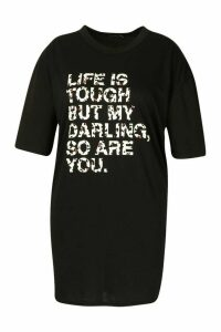 Womens Plus Life Is Tough Oversized T-Shirt Dress - black - 22, Black
