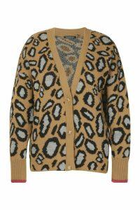 Womens Plus Leopard Button Oversized Cardigan - beige - 20, Beige