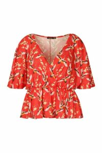 Womens Plus Oriental Floral Print Wrap Peplum Top - red - 20, Red