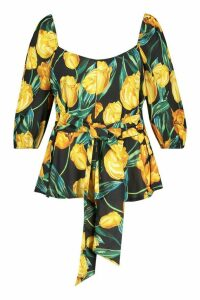 Womens Plus Bardot Self Belt Floral Woven Peplum Top - black - 20, Black