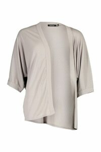 Womens Plus Rib Wide Sleeve Kimono - grey - 22, Grey