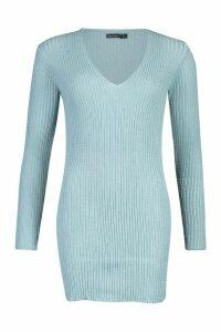 Womens Petite Rib V-Neck Basic Jumper Dress - slate blue - L, Slate Blue
