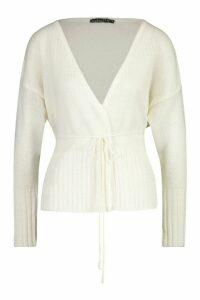 Womens Petite Rib Hem Tie Detail Cardigan - white - M, White