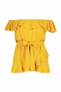 Womens Plus Woven Off Shoulder Ruffle Self Tie Top - yellow - 20, Yellow