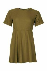 Womens Petite Knitted Rib Turn Up Sleeve Smock Dress - green - 6, Green
