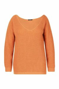 Womens Plus Oversized V-Neck Jumper - orange - 24, Orange