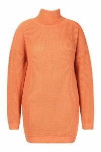Womens Plus Roll Neck Jumper Dress - orange - 20, Orange