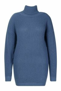 Womens Plus Roll Neck Jumper Dress - slate blue - 20, Slate Blue
