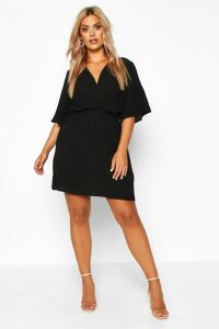 Womens Plus Angel Sleeve Smock Dress - black - 20, Black