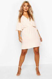 Womens Plus Angel Sleeve Smock Dress - pink - 28, Pink