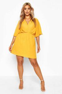 Womens Plus Angel Sleeve Smock Dress - yellow - 20, Yellow