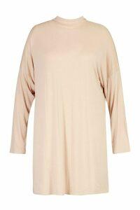 Womens Plus High Neck Drop Shoulder Sleeved T-Shirt Dress - Beige - 20, Beige