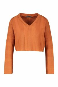 Womens Petite Knitted Jumbo Rib Cropped Jumper - orange - 14, Orange