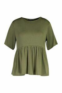 Womens Plus Rib Ruffle Sleeve Smock Top - green - 20, Green
