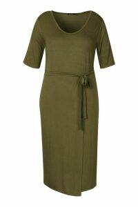 Womens Plus Tie Waist Wrap T-Shirt Dress - green - 20, Green