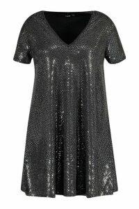 Womens Plus Sequin Oversized T-Shirt Dress - grey - 20, Grey