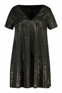 Womens Plus Sequin Oversized T-Shirt Dress - metallics - 16, Metallics