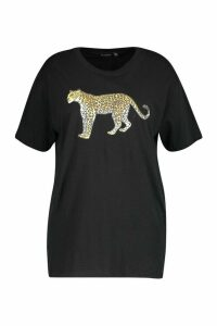 Womens Plus Leopard Graphic T-Shirt - black - 20, Black