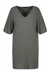 Womens Plus Split Sleeve Ribbed T-Shirt Dress - grey - 20, Grey