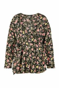 Womens Plus Dark Floral Wrap Belted Blouse - black - 24, Black