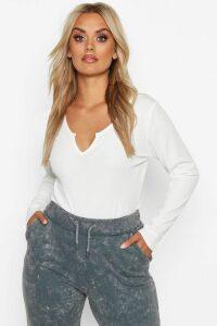 Womens Plus Rib Notch Front Longsleeve T-Shirt - white - 18, White