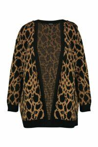 Womens Plus Jacquard Animal Print Cardigan - brown - 20/22, Brown