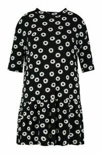 Womens Plus Daisy Print Ruffle Hem T-Shirt Dress - black - 20, Black
