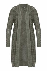 Womens Plus Chunky Honeycomb Waterfall Cardigan - grey - 18, Grey