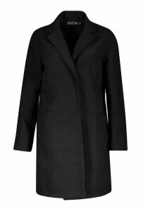 Womens Collared Wool Look Coat - black - 14, Black