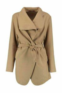 Womens Short Belted Waterfall Coat - beige - One Size, Beige