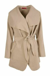 Womens Short Belted Waterfall Coat - beige - One Size, Beige