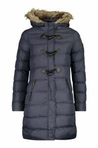 Womens Quilted Faux Fur Hood Parka - navy - 14, Navy