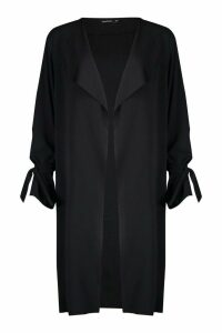 Womens Waterfall Tie Cuff Duster Coat - black - M/L, Black