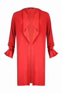 Womens Waterfall Tie Cuff Duster Coat - orange - M/L, Orange