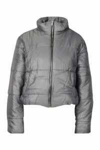 Womens Funnel Neck Puffer Jacket - grey - S, Grey