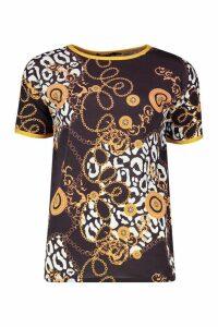Womens Animal Chain Print Ringer T-Shirt - black - 12, Black