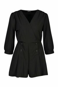 Womens Wrap Detail Volume Sleeve Playsuit - black - 14, Black