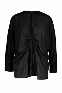 Womens Ruched Tie Front Ribbed Kimono - black - M, Black