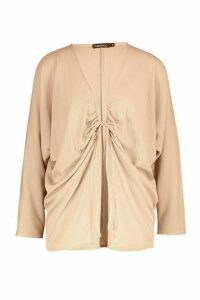 Womens Ruched Tie Front Ribbed Kimono - beige - M, Beige