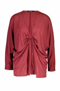 Womens Ruched Tie Front Ribbed Kimono - red - M, Red