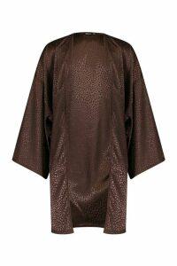 Womens Leopard Jacquard Satin Midi Kimono - brown - M, Brown