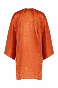 Womens Leopard Jacquard Satin Midi Kimono - orange - M, Orange